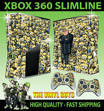XBOX 360 SLIM DESPICABLE ME MINIONS COVERED STICKER SKIN & 2 CONTROLLER PAD SKIN