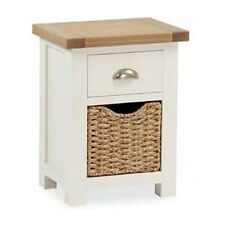 Daymer Painted Bedside Table / Off White Side Table with Basket / Oiled Oak Top