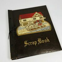 Vintage Leather Craft Scrapbook Album w/Embossed English Horses Wagon Inn (Z)