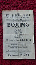 Boxe programme-Eric Powell V Bert Jackson-St. James Hall-Newcastle - 1947