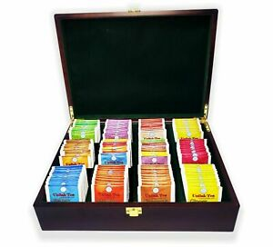 Wooden Tea Box with 12 Compartments – with 170 free tea bags -Tea Bag Organizer