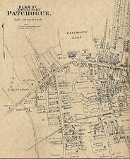Patchogue NY 1888 Maps with Businesses and Homeowners Names Shown