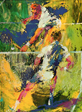 """LEROY NEIMAN BOOK PLATE PRINT """"SINGLES"""" TENNIS MATCH ACTION AT THE NET"""