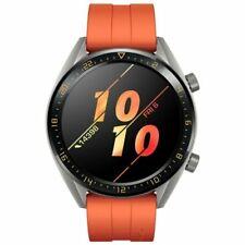Huawei Watch GT 46mm Grey Steel Case, Orange Silicone Band, Unisex Smartwatch