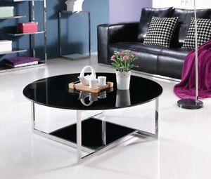 Kaveh Mirror Pollished Stainless Steel Coffee Table With Black Tempered Glass
