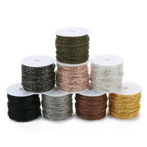 10Yards/Roll 2x3mm/3x4mm Metal Iron Flat Cable Chain Link for DIY Jewelry Making