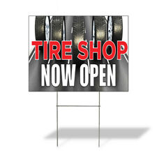 Tire Shop Now Open Outdoor Lawn Decoration Corrugated Plastic Yard Sign