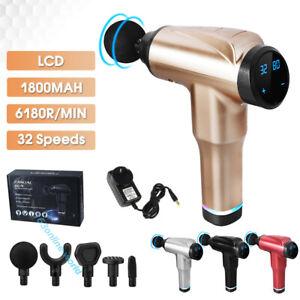 32 Speeds 5 Heads LCD Massage Gun Deep Tissue Percussion Body Muscle Massager AU