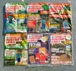 6 x MINECRAFT WORLD MAGAZINE BACK ISSUES ~ NEW WITH GIFTS ~