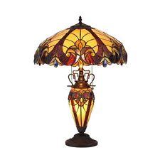 Chloe Lighting Tiffany Style Double lit Victorian Design 3 light Table Lamp