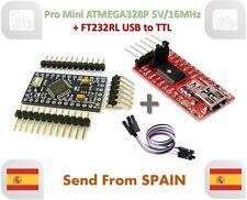 Pro Mini ATMEGA328P 5V/16MHz & FTDI FT232RL USB to TTL Serial Converter