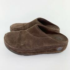 FITFLOP Womens Gogh Brown Suede Slip On Clogs Mule Shoes Sz 5 Wobble Board