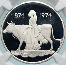 1974 ICELAND FOUR SPIRITS & COW WOMAN Vintage Silver 500 Kronor Coin NGC i85052