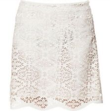 ZARA FAUX LEATHER PERFORATED BEIGE SKIRT S