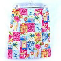 Talbots Women's Size 6 Colorful Floral Cotton Nautical Stretch Pencil Skirt USA