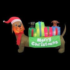 CHRISTMAS  SANTA DACHSHUND HOT DOG WEINER DOG PUPPIES AIRBLOWN INFLATABLE  6 FT