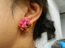 NW handmade REAL LEATHER flower Earring stud bloom summer mix collur