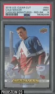 2019 UD Clear Cut Canvas Signatures Cale Makar Red Ink AUTO 8/8 PSA 9 MINT
