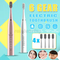 Ultrasonic Sonic Electric Toothbrush USB Rechargeable 6 Modes 4 Brush