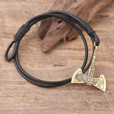 Viking Bracelet Bangle Axe Helm of Awe Rune Triquetra Norse Leather Rose Gold