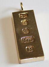 Vintage Solid 9ct Gold Ingot Pendant 29.6G ' Investment Bar '