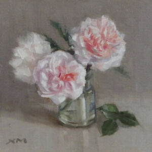 """""""Roses 1"""" original fine art still life oil painting by Xiaomei Griffiths"""