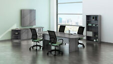 8ft Stylish Modern Office Conference Table with Gray Steel Laminate Finish