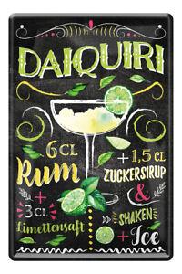 Daiquiri Cocktail Drink Zutaten Rezept Retro Deko Bar Blechschild 20x30cm A0592