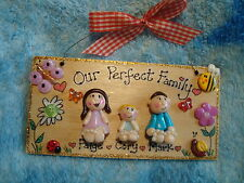 3d Personalised Family Gift 3 Character Plaque Sign New Home Baby Christening