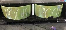 Rae Dunn Halloween Dog Bowls HOCUS POCUS Green Iridescent