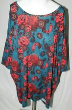 Lularoe Irma Women's Shirt Top 1/2 Sleeve Scoop Neck Floral Paisley Blue Red L