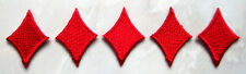 Lot of 5 Red Diamonds Cards Small Embroidered Iron on Patches Free Postage
