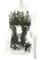 Haute Hippie Long Sleeve V-Neck Tee Skull Ivory with Black Size L $155