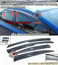 Mu-gen V2 Window Rain Guard Visors (Tinted) with Clips Fits 06-11 Civic 4dr