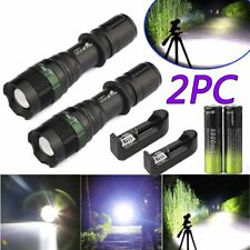 2 set Tactical Zoom Flashlight 20000LM T6 LED 5800mAh 18650 Battery Charger