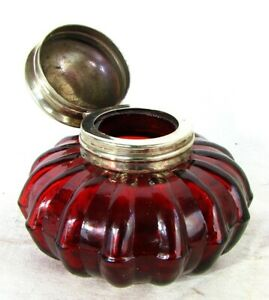 ANTIQUE INKWELL RUBY RED *MELON FORM* c.1880