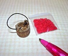 "Miniature ""Sir Thomas Thumb"" Tiny Berry Bucket w/""Cherries"": DOLLHOUSE 1/12 1/24"