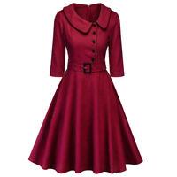WOMEN VINTAGE 40's 50'S RETRO SWING TARTAN FLARE WINTER COLLAR DRESS PARTY PLUS