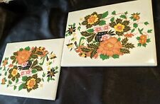 Vintage Lot Of 2 Decorative Porcelain Tiles From Mexico Unused