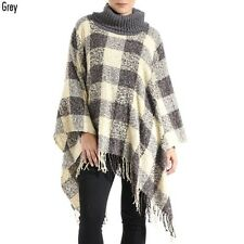 Grey and Multi Colored Plaid Acrylic Poncho