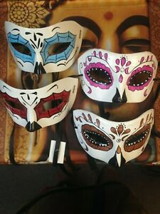 Set of 4 Sugar Skull, Day of the Dead, Party Girl Masks
