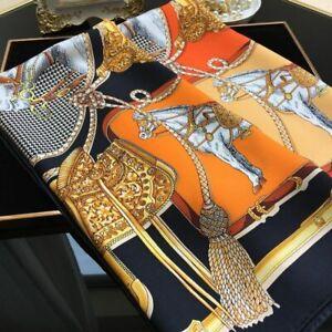 Elegante klassische Pferde 100% reine Mulberry Seide Tuch Stola SQUARE Schals 90cm