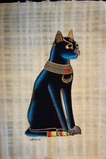 "BLUE CAT EGYPTIAN HAND PAINTED HAND MADE PAPYRUS ARTWORK 9"" x 13"""