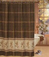 Browning Shower Curtain & Hooks, Buckmark Logo Bathroom Accessories