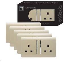 Trendi 2 Gang Artistic Modern 13 Amp Switched Plug Socket Gold Trade Pack (x5)