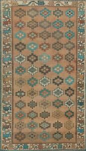 Antique Geometric All-Over Traditional Oriental Area Rug Hand-knotted Wool 5x8