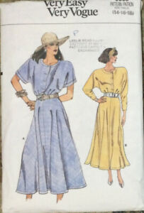 80s 90s Very Easy Vogue Pattern Loose Fit Flared Dress 9865 Size 14 16 18