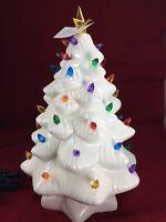 "Mr. Christmas White Ceramic Light Up Xmas Tree Vintage-style Nostalgic 14"" NIB"