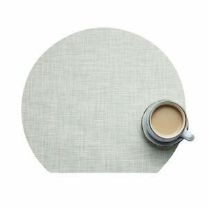 Placemat Solid Color Half Moon Shape Tableware Mat Non-Slip Heat Insulation Pads