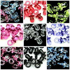 100 x 31mm Acrylic Soother Dummy Pendant Dummies Pacifier Charm Beads Baby Pink